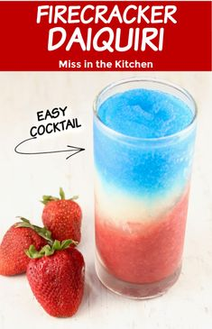 What better way to cool off this summer than with a frozen rum daiquiri. The Firecracker Daiquiri is a layered red, white and blue cocktail that will be the hit of any summer celebration. Cocktails For Parties, Frozen Cocktails, Easy Cocktails, Classic Cocktails, Summer Cocktails, Party Drinks, Cocktail Drinks, Fun Drinks, Healthy Drinks