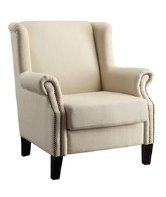 Beige Fabric Wood Accent Chair w/Rounded Arms Nailhead Rolled Back