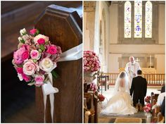 rose decor on church pews at wedding ceremony    Photography by Catherine