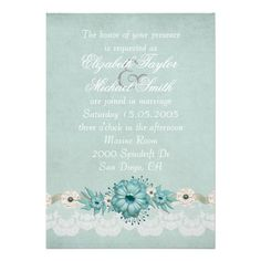 Luxury Elegant Lace Spring Floral Wedding Invite