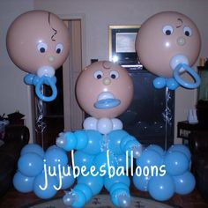 I love the heads with the binki. :) Great for a baby shower. Baby Balloon, Baby Shower Balloons, Baby Shower Cakes, Baby Shower Parties, Baby Boy Shower, Baby Shower Gifts, Balloon Decorations Party, Baby Shower Decorations, Balloon Ideas