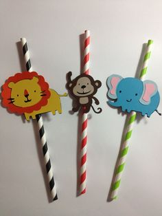 Recreate with Tina's animal files. Set Of 12 Safari/Jungle Animal Party Straws great by MiaSophias, $14.50