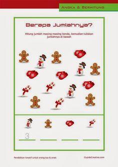 belajar anak balita/TK, hitung angka 1-10 tema natal, manusia salju, hiasan natal