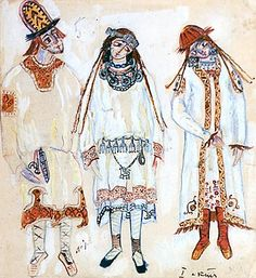 "Nicholas Roerich. Three Figures (A Youth and Maidens). Costume design for Stravinsky's ballet ""Le Sacre du Printemps"" (Act I)"