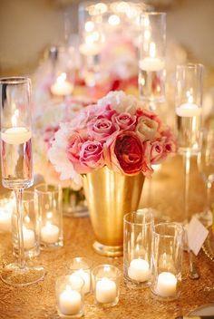 blush, fuschia, gold flowers & candles - Google Search