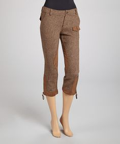 Take a look at this Brown Tweed Zipper Wool-Blend Capri Pants by Escio on #zulily today!