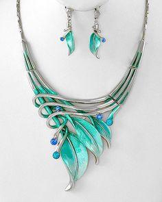 Aqua Art Deco Leaf