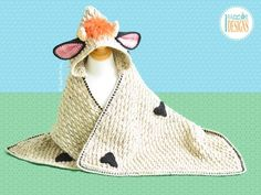 Crochet Pattern PDF for making an adorable Cow Blanket with Hood for Kids and Babies