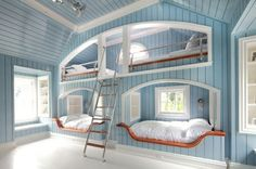 If I ever owned a cottage I would have to have these bunk beds.  What an amazing room for your kids to host their friends!
