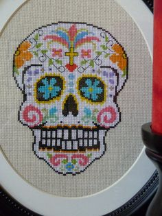 White Sugar Skull Cross Stitch Pattern.