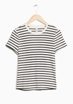 & Other Stories image 1 of Striped Cotton Tee in Black