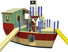 cool, 3 level DIY pirate ship with crow's nest, gang plank, slide, roof, windows and rope railings