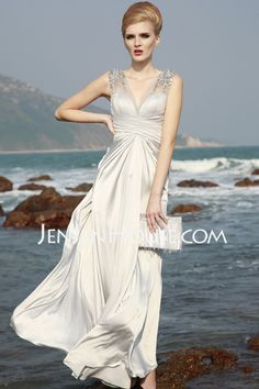 Prom Dresses - $145.99 - A-Line/Princess V-neck Floor-Length Charmeuse Prom Dresses With Ruffle  Beading (018004815) http://jenjenhouse.com/A-line-Princess-V-neck-Floor-length-Charmeuse-Prom-Dresses-With-Ruffle--Beading-018004815-g4815