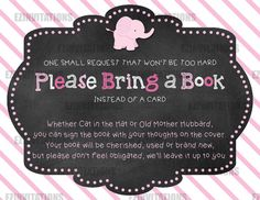 Pink and Grey Chalkboard Elephant Baby Shower Book Request Cards - PRINTABLE!!!