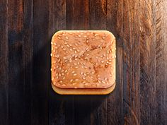 A sesame seed bun app icon by CreativeDash. Web Design, App Ui Design, Interface Design, Icon Design, User Interface, Graphic Design, Mobile App Icon, Burger Icon, Iphone Icon