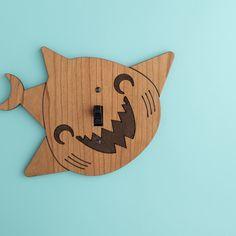 Wooden Shark Light Switch Plate Cover