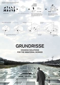 """""""Grundrisse, Housing Solutions for the Immaterial Worker"""" by. : """"Grundrisse, Housing Solutions for the Immaterial Worker"""" by Microcities wins first prize at Think-Space Architecture Panel, Architecture Graphics, Architecture Student, Architecture Portfolio, Architecture Design, Project Presentation, Presentation Layout, Presentation Boards, Architecture Presentation Board"""