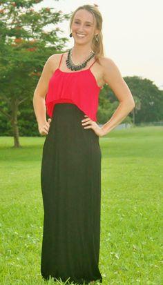 Red & Black 2-Toned Maxi Dress