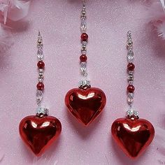 3 Red Mercury Glass Heart Ornaments Beaded Icicle Garland Vintage Beads OOAK
