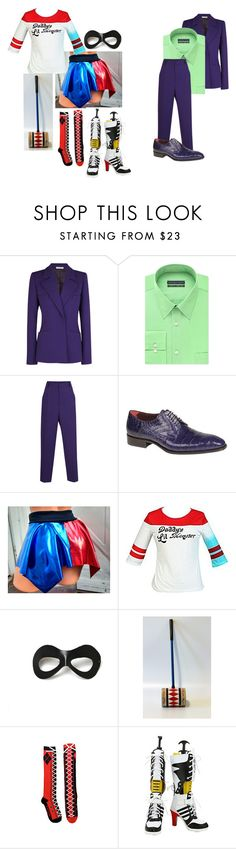 """Joker and Harley Quinn Costumes"" by ultimatefangirl-459 ❤ liked on Polyvore featuring Barbara Casasola, Geoffrey Beene, Mezlan and Villain"