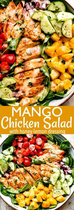 This Mango Chicken salad has the most tender baked and sliced chicken breasts. They are served over a bed of lettuce and topped with diced mango, plus a fresh honey-lemon homemade dressing. It's the perfect easy salad for lunch or a light dinner. Shrimp Salad Recipes, Healthy Salad Recipes, Chicken Recipes, Lettuce Salad Recipes, Green Salad Recipes, Keto Chicken, Rotisserie Chicken, Grilled Chicken, Beef Recipes