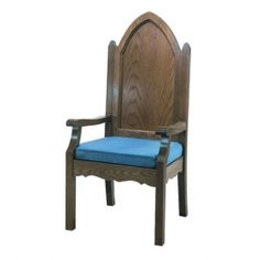 CHURCH Furniture - Sanctuary Chairs, Celebrant Chairs, Wedding Kneelers, Communion Tables Beautiful Celebrant wood chair with scalloped detailing for Churches.   -----------   Please visit our webstore to view a great selection of Church chairs, Altars, Communion tables, wedding kneelers, lecterns and more at:  http://ReigningGifts.com/CHURCH FURNITURE.htm