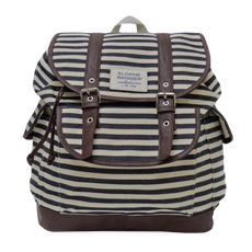 cute backpack for college - denim stripe slouch backpack.