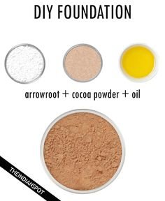 "DIY FOUNDATION Start with a base of arrowroot powder tsp. for dark skin – 1 Tbs. for light skin). Add in the combination of the cocoa powder, cinnamon, or nutmeg until you reach your desired tone. If you want to make a ""compact"" foundation, add some joj All Natural Makeup, Organic Makeup, Natural Beauty, Natural Glow, Natural Skin, Diy Makeup Foundation, Compact Foundation, Homemade Foundation, Beauty Hacks For Teens"