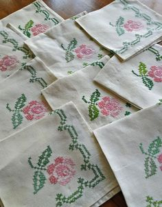 Hand Made Napkins embroidered hand hemmed. $12.50, via Etsy.
