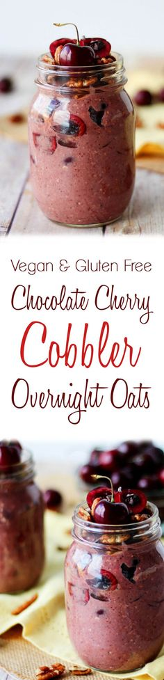 This Chocolate Cherry Cobbler Overnight Oats recipe is totally vegan, Dairy Free and Gluten Free! It's an easy way to start your morning by doing a little prep work ahead! Vegan Breakfast Recipes, Healthy Breakfast Recipes, Breakfast Ideas, Healthy Food, Healthy Recipes, Healthy Breakfasts, Breakfast Time, Raw Food, Gluten Free Breakfasts