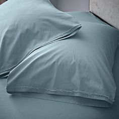 ORGANIC COTTON FRAYED-EDGE SHEETS in Sea - west elm
