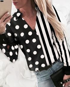 Striped Dot Print Insert Casual Shirt Shop- Women's Best Online Shopping - Offering Huge Discounts on Dresses, Lingerie , Jumpsuits , Swimwear, Tops and More. Ropa Upcycling, Mode Costume, Shirt Shop, Pattern Fashion, Sleeve Styles, Trendy Outfits, Blouses For Women, Casual Shirts, Pullover