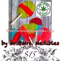 """Mr. & Mrs. Medibles Faux Pot Lollipops Are On Sale NOW at Pompous Bastard™ Store. """"Ain't got time to cry when I can have a rainbow high‼️ Pardon me please while I fly fly fly✈️. Kiss the stress and the haters bye bye! --DJ Biscotti"""