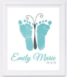 Baby footprint art, forever prints by hand and footprint Keepsake for kids or babies. Mother's Day, New Mother, Nursery Art Baby In loving memory - Baby & Kleinkind - Baby Diy Mothers Day Crafts For Kids, Fathers Day Crafts, Baby Crafts, Toddler Crafts, Newborn Crafts, Family Crafts, Baby Footprint Art, Baby Footprints, Butterfly Footprints