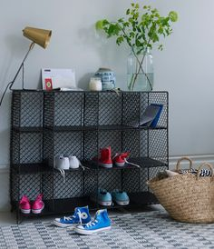Loaf's handy Mish-Mesh hallway storage solution with wireware cubbies filled with colourful Converse shoes Shoe Storage Cupboard, Hallway Shoe Storage, Shoe Storage Unit, Shoe Storage Solutions, Bench With Shoe Storage, Under Bed Storage, Table Storage, Storage Spaces, Storage Ideas