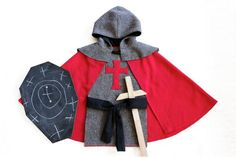 This deceptively simple Knight Costume is a fun, quick sew - perfect for a last minute Halloween costume or for pretend play all year round.