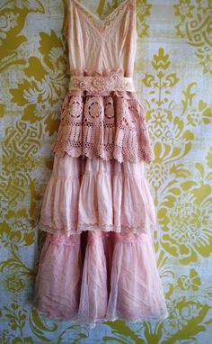 ballerina pink antique pink whisper pink embroidered & crochet boho off beat bride wedding dress by mermaid miss k