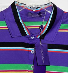 NEW $325 Ralph Lauren Purple Label Striped Polo Shirt~XL~SAVE $180~Made in Italy #RalphLaurenPurpleLabel #PoloRugby