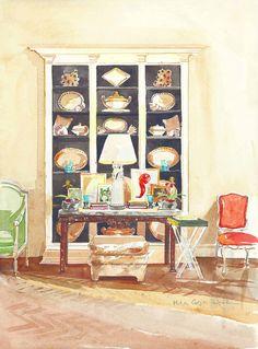 Interior - Sister Parish on Decorating - Mita Corsini Bland, watercolor - Todd Romano's living room