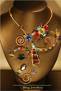 Winking Eye Wire Multi-Coloured Crystal & Glass Art Necklace by janineantulov, via Flickr