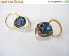 On SALE Today Calla Lily Earrings Gold Filled 1940's Sapphire Blue Rhinestone Screwback Pierced