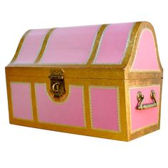 Pink Italian style child's storage trunk / chest (via Kid Toy Storage, Storage Trunk, Toy Trunk, For Elise, Toys For Girls, Girl Toys, Baby Girls, Kawaii Room, Vintage Trunks