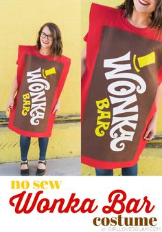 No sew Wonka Bar costume! Perfect for an adult costume or a kid costume. It goes along with a Willy Wonka themed family halloween costume, . Mom Costumes, Group Halloween Costumes, Homemade Costumes, Family Halloween Costumes, Adult Costumes, Halloween Diy, Group Costumes, Costume Ideas, Zombie Costumes