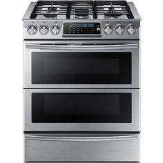 Samsung 30 in. 5.8 cu. ft. Slide-In Dual Door Double Oven, Dual Fuel Range with Self-Cleaning Convection Oven in Stainless Steel (Silver)