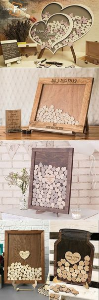 2 alternative wedding ideas dorp box hearts Mason Jar country wedding ideas wood #rusticwedding #weddingideas #guestbook