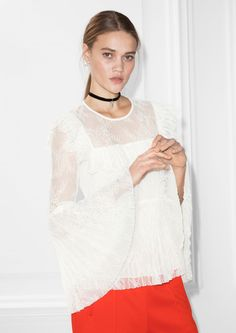 Other Stories image 2 of Trumpet Sleeves Lace Top in White