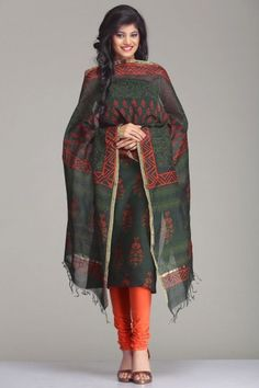 Gorgeous Self-Printed Green Chanderi Unstitched Suit With Orange Floral Bunch Hand Block Print & A Gold Zari Border