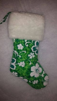 Handmade Hibiscus Christmas Stocking with Faux Fur Cuff, Green Hibiscus Christmas Stocking, Island Christmas Stocking, Tropical Stocking by OutIslandEssentials on Etsy