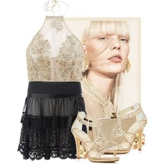Perla dorada by flordemaria on Polyvore featuring moda, Caparros, Jimmy Choo and MANGO