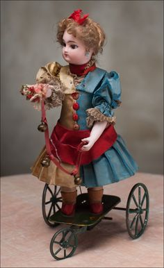 *GAULTIER DOLL ~ Antique French Mechanical Doll on three-wheeled base by Vichy, circa 1875